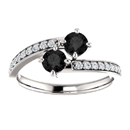 0.50 Carat Black Diamond 2 Stone