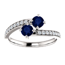 0.50 Carat Sapphire 2 Stone Ring in 14K White Gold