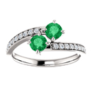 0.50 Carat Emerald and Diamond Two Stone