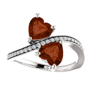 Heart Cut Garnet and CZ 2 Stone Ring in Sterling Silver