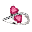 Heart Cut Pink Topaz Two Stone Ring in Sterling Silver