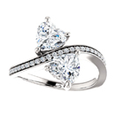 Heart Shaped Moissanite and Diamond Engagement Ring in 14K White Gold