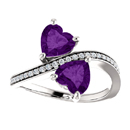 Heart Shaped Amethyst Two Stone Ring in Sterling Silver