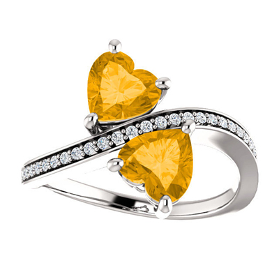 "Heart Shaped Citrine and Diamond ""Only Us"" Two Stone Ring in 14K White Gold"
