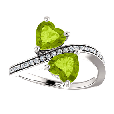 Heart Shaped Peridot Two Stone Ring in 14K White Gold