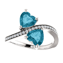 London Blue Heart Shaped 2 Stone Ring in Sterling Silver