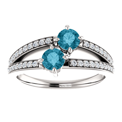 4mm London Blue Topaz and CZ Two Stone Ring in Sterling Silver