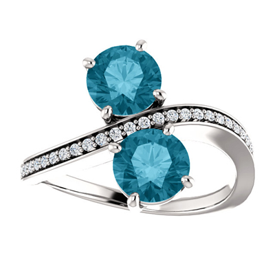 London Blue Topaz and Diamond Two Stone Ring in 14K White Gold