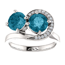 London Blue and Diamond Two Stone