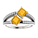 4.5mm Princess Cut Citrine and Diamond Two Stone Ring in 14K White Gold