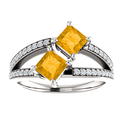 4.5mm Princess Cut Citrine and CZ Two Stone Ring in Sterling Silver
