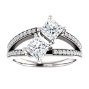 Cubic Zirconia Two Stone Engagement Ring in Sterling Silver