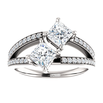 1 Carat Diamond Two Stone Engagement Ring in 14k White Gold