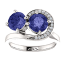 Two Stone Tanzanite and Diamond