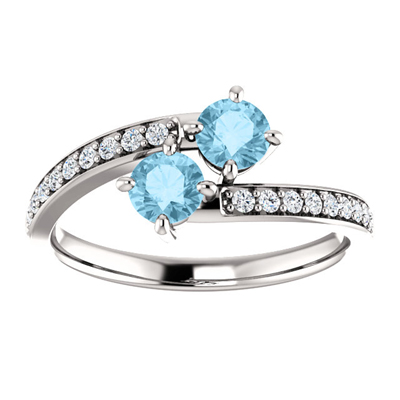 14K White Gold Two Stone Aquamarine and Diamond Ring