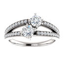 Half Carat Two Stone Diamond Engagement Ring in 14K White Gold
