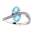 Pear Cut Aquamarine and CZ Two Stone Ring in Sterling Silver