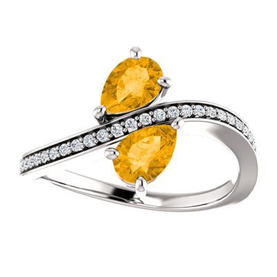 Pear Cut Citrine and Diamond Two Stone Ring in 14K White Gold