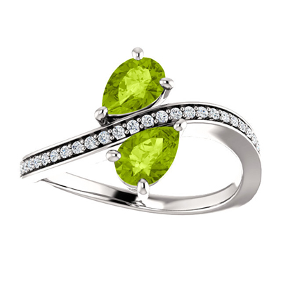 Pear Cut Peridot and CZ Two Stone Ring in Sterling Silver