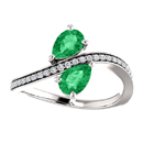 Pear Shaped Emerald and Diamond