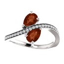 Pear Shaped Garnet and Diamond Two Stone Ring in 14K White Gold