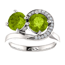 Peridot and CZ Swirl Design Two Stone Ring in Sterling Silver