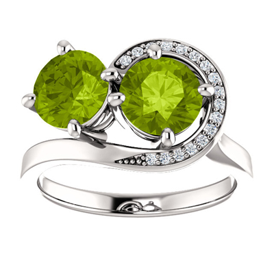Peridot and Diamond Swirl Design Two Stone Ring in 14K White Gold