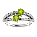 4mm Peridot and Diamond Two Stone