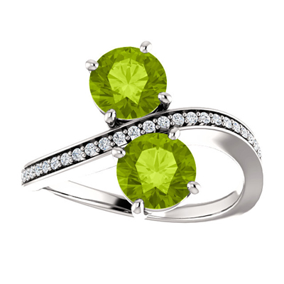 Peridot and Diamond  Two Stone Ring in 14K White Gold
