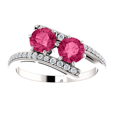 Pink Topaz 2-Stone Ring with Diamond Accents in 14K White Gold