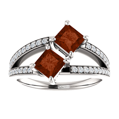 Princess Cut 4.5mm Garnet and Diamond 2 Stone Ring in 14K White Gold