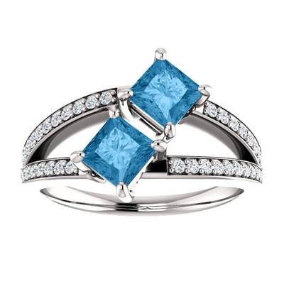 4.5mm Princess Cut Blue Topaz and CZ 2 Stone Ring in Sterling Silver