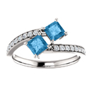 Princess Cut Blue Topaz and CZ