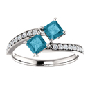 Princess Cut London Blue Topaz and CZ Ring in Sterling Silver
