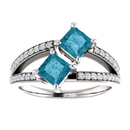 4.5mm Princess Cut London Blue Topaz and Diamond 2 Stone Ring in 14K White Gold