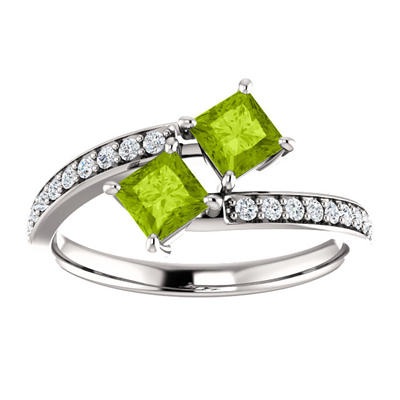 Princess Cut Peridot and Diamond Two Stone Ring in 14K White Gold