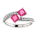 Princess Cut Pink Topaz Two Stone