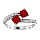 Princess Cut Ruby and Diamond 2 Stone
