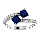 Princess Cut Sapphire and Diamond Two Stone Engagement Ring in 14K White Gold