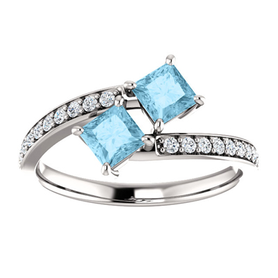 Princess Cut Two Stone Aquamarine and Diamond Ring in 14K White Gold
