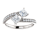 Princess Cut 2 Stone Diamond Engagement Ring in 14K White Gold