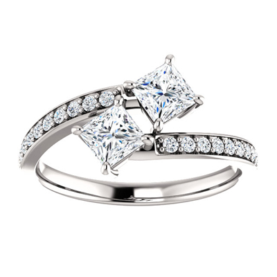 Princess Cut Moissanite Two Stone Engagement Ring in 14K White Gold