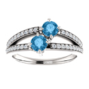 Round Blue Topaz Two Stone Ring with Diamond Accents in 14K White Gold