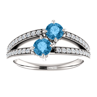 Round Blue Topaz Two Stone Ring with CZ Accents in Sterling Silver