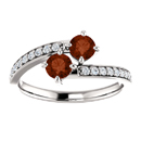 Round Garnet and Diamond 2 Stone Ring in 14K White Gold