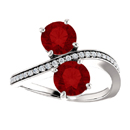 Ruby and Diamond Two Stone Ring in 14K White Gold
