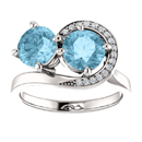 Swirl Design Aquamarine and CZ