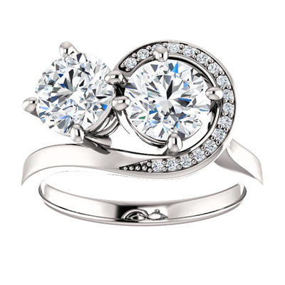 Two Stone Swirl Design Moissanite Engagement Ring in 14K White Gold