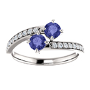 Tanzanite and Diamond Two Stone