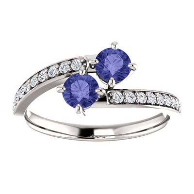 Tanzanite and CZ Two Stone